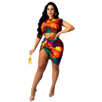 Two Piece Tie-dye Print Knotted Pleated Skirt Set