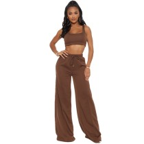 Solid Color Sleeveless Crop Vest and Drawstring Long Pants with Wide Leg