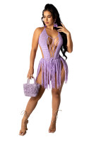 Woven Two-wear Halter Fringe Beach Dress