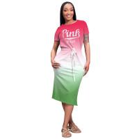Casual Printed Pink Gradient Midi Dress