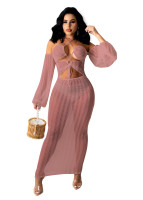 Sexy Pile Sleeves Mesh See Through Lace-up Maxi Dress