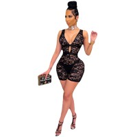Black Lace Deep V Sleeveless Rompers