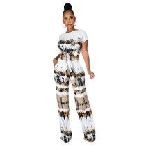 Two-piece Printed Tie-dye Bandage Crop Top and Trousers with Wide-leg