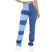 Stretch Patchwork Frayed Straight-leg Jeans