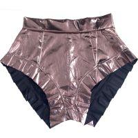Imitation Leather Pleated Ruffled Hot Short