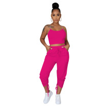 Two Piece Set Clothing Straps Drawstring with Pocket