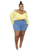 Plus Size Fat Women Frayed Denim Shorts