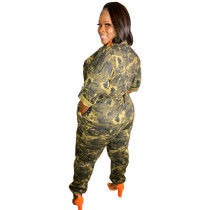 Camouflage Cardigan Woven Jumpsuit