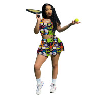 Two Piece Skirt Set Tennis Sports Pattern Printed Vest and Culottes