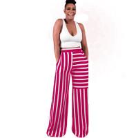 Colorblock Striped Straight Wide-leg Long Pants