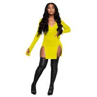 Solid Color V Neck Split Nightclub Dress