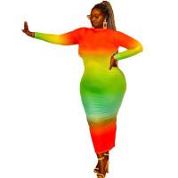 Casual Tie-dye Printed Mid Plus Size Women's Dresses