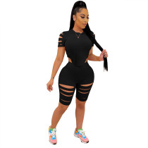 Casual Black Burnt Flowers Sports Two Piece Set