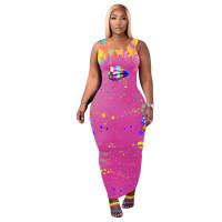 Casual Womens Clothing 2021 Lips Print Splash-ink Maxi Dress