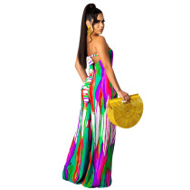 Casual Printed Tie-dye Strapless Jumpsuit with Wide-leg