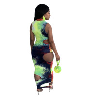 Tie-dye Sexy Maxi Dress with Hollow Out