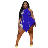 Sleeveless Plus Size Tie-dye Fake Two-piece Jumpsuit with Back Zipper