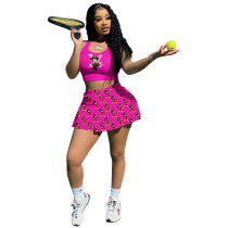 Two Piece Tennis Jogger Sets Printed Nightclub Sports Vest & Culottes