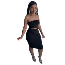 Cotton Sexy Bandage Wrapped Top and Midi Skirt