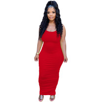 Solid Color Ladies Straps Stacked Club Maxi Dresses Women Summer