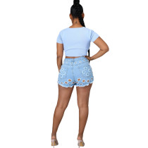 Casual Washed Denim Shorts with Holes