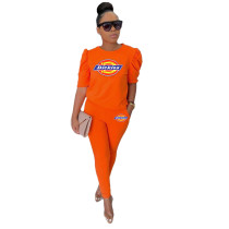 Casual Offset Printing Sets Womens Clothing with Pockets