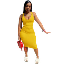 Summer Camisole U-neck Knee-length Midi Dress