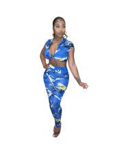 Tie-dye Print Women Fashion Trendy Crop Top and Trousers Two Piece Set
