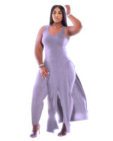 Solid Color Sleeveless Long Dress and Trousers Plus Size Fat Women Clothing