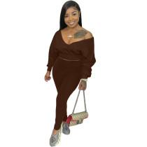 Solid Color Designer Clothing Long Sleeve V Neck 2 Piece Pants Set