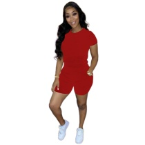 Solid Color Short Sleeve Women Clothing 2 Piece Set