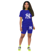 2021 Short Sleeve Printed Women Sets Two Piece
