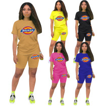 Womens Outfits Printed Short Sleeved Sports 2 Piece Shorts Set