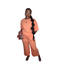 Casual 2 Piece Pants Set Mid Sleeve Blouse and Trousers