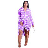 Irregular Lapel Print Midi Shirt Dress