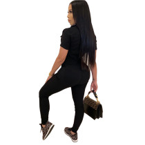 Solid Color High Stretch Turn-down Neck Black Jumpsuit