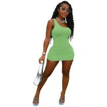 Solid Color Singe Shoulder Sleeveless Mini Dress