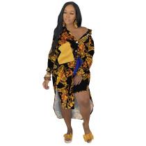 Woven Shirt Dress Printed Bat Sleeve Stitching Irregular Nightclub Mid Dress