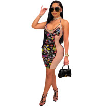 Mesh Printed Straps Sexy Dress