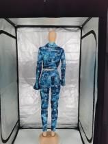 Fashion Printed Long Sleeve Pant Set Women Clothing