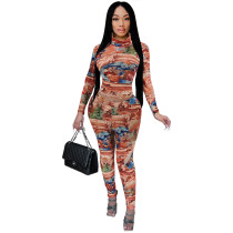 Casual High Neck Prined 2 Piece Pant Set