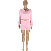 Autumn Solid Color O Neck Long Sleeve Blouse and Shorts