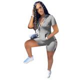 Casual Printed Letter Sportwear Short Sets