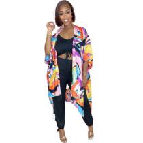 Casual Printed Slit Beach Cloak