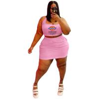Summer Printed Halterneck Sports Sexy Two Piece Skirt Set
