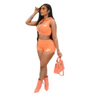 Casual Zipper Printed Hooded Crop Top and Shorts Two Piece Set