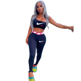 Summer Printed Letters Tight-fitting Sports Crop Top and Trousers