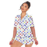 Casual Pattern Printed Pajamas Home Wear 2 Piece Loungewear