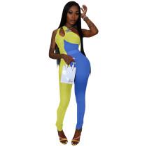 Fashion Stitching Single Shoulder Sports Jumpsuit