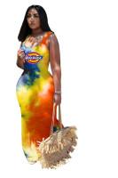Fashion Tie-dye Sleeveless Maxi Dress